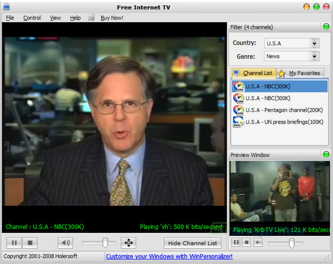 screen capture of Free Internet TV