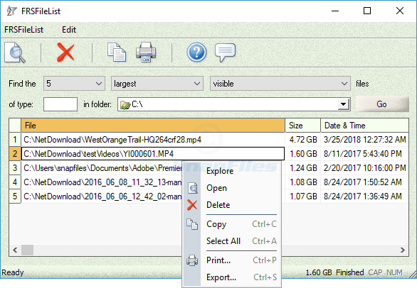 screenshot of FRSFileList