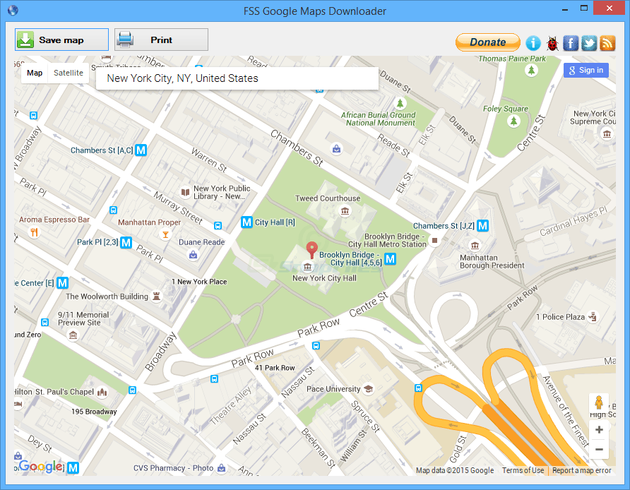 screen capture of FSS Google Maps Downloader