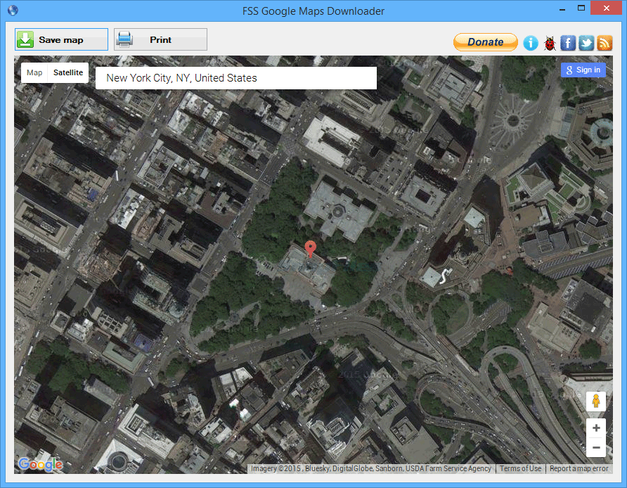 screenshot of FSS Google Maps Downloader