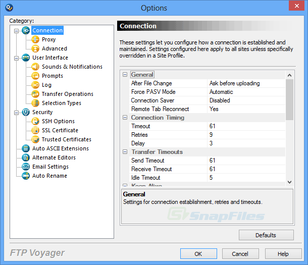 screenshot of FTP Voyager