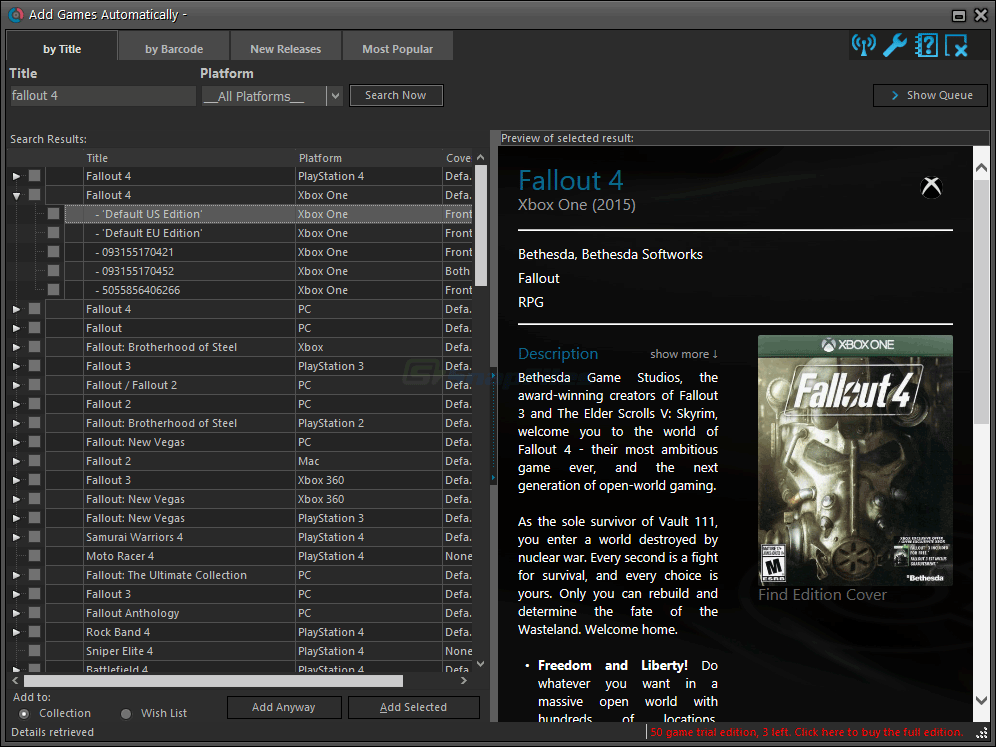 screenshot of Collectorz.com Game Collector