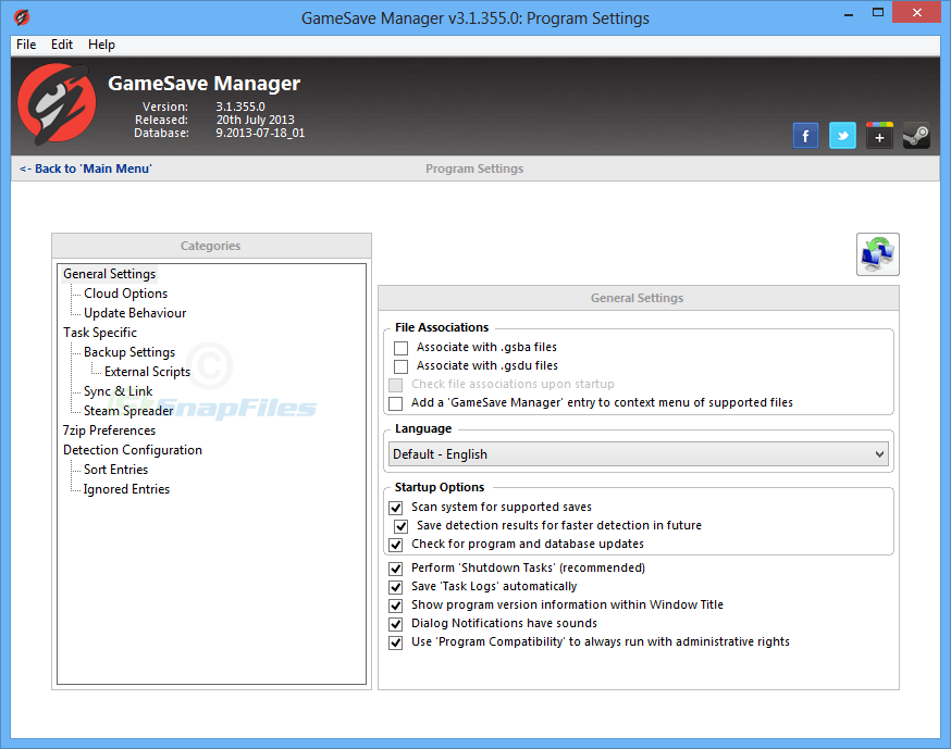 screenshot of GameSave Manager