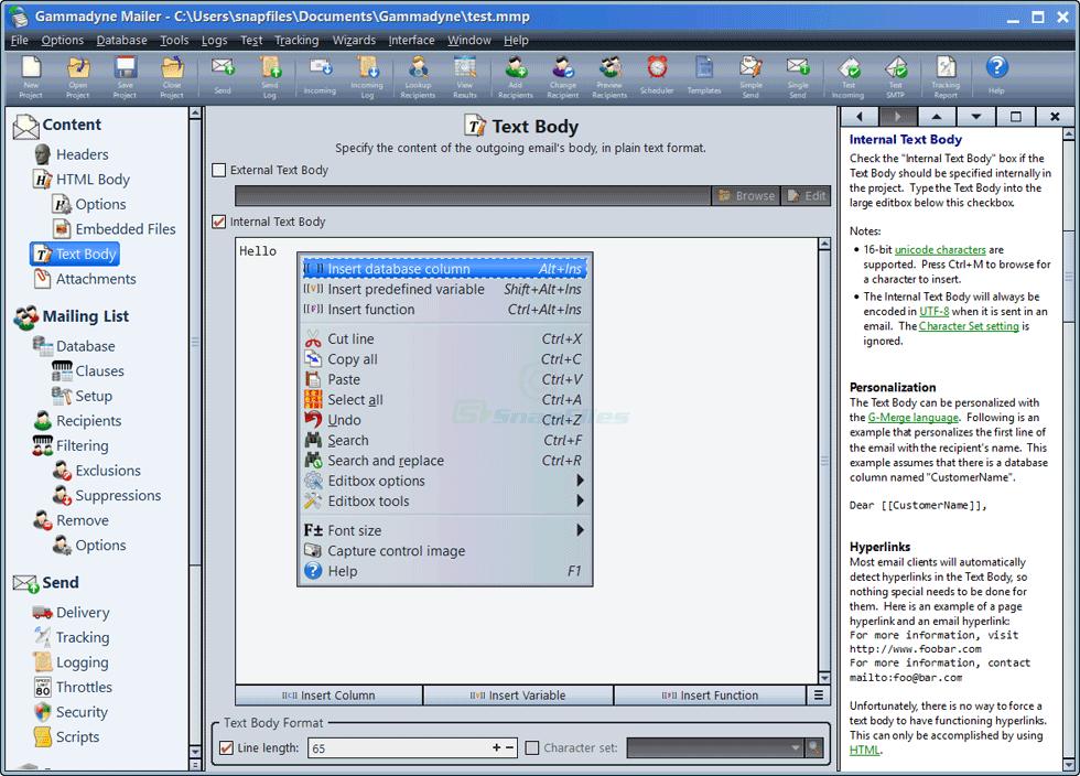 screen capture of Gammadyne Mailer