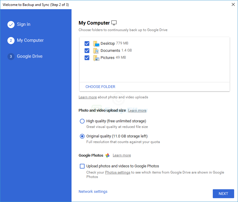 screen capture of Google Backup and Sync