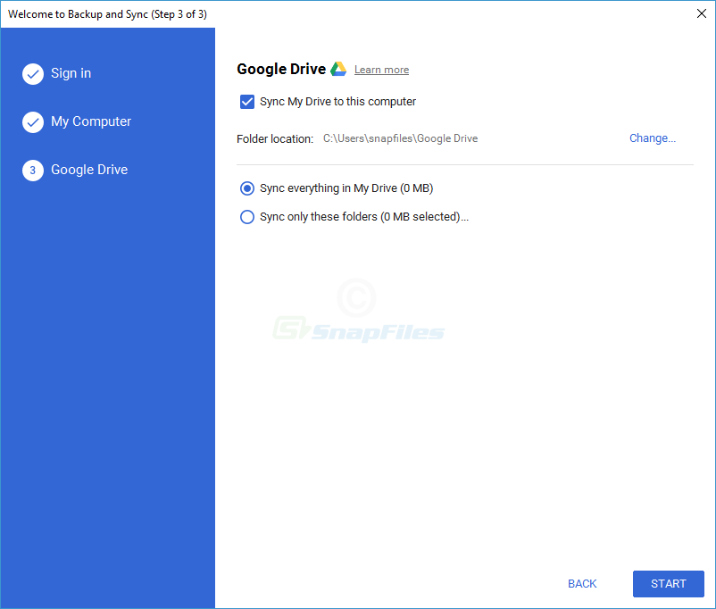 screenshot of Google Backup and Sync