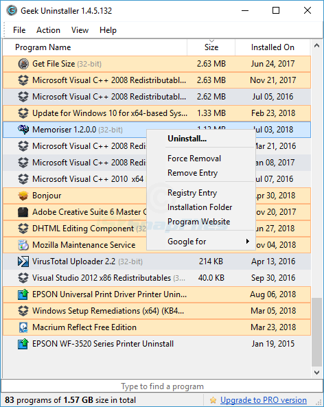 screen capture of Geek Uninstaller