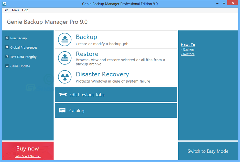 screen capture of Genie Backup Manager Pro