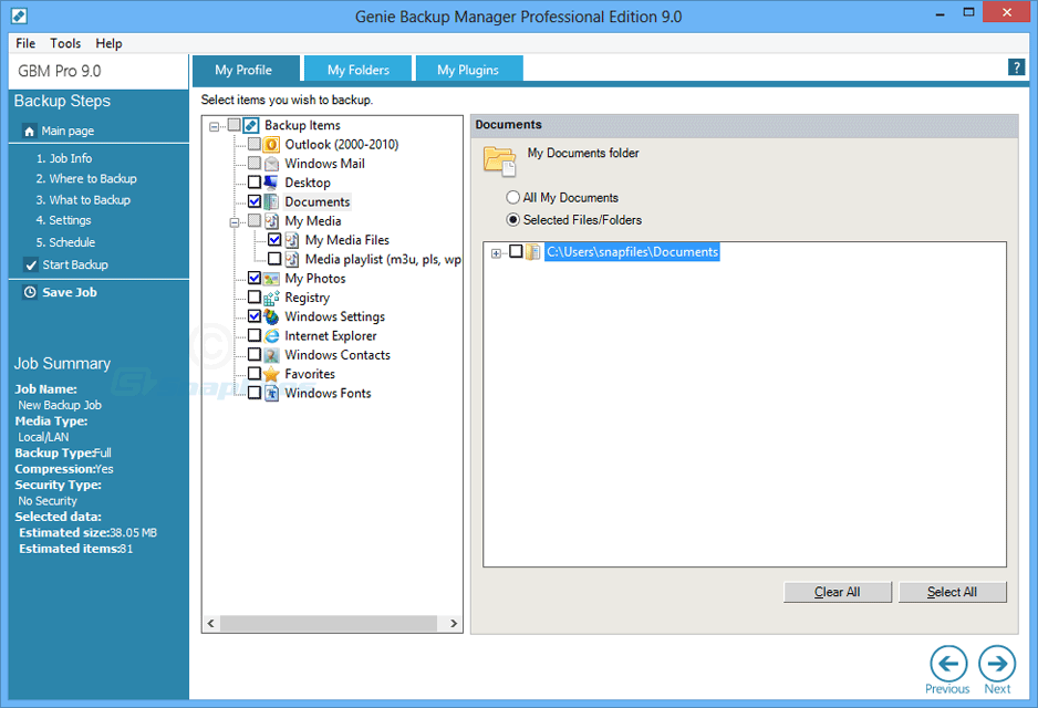 screenshot of Genie Backup Manager Pro