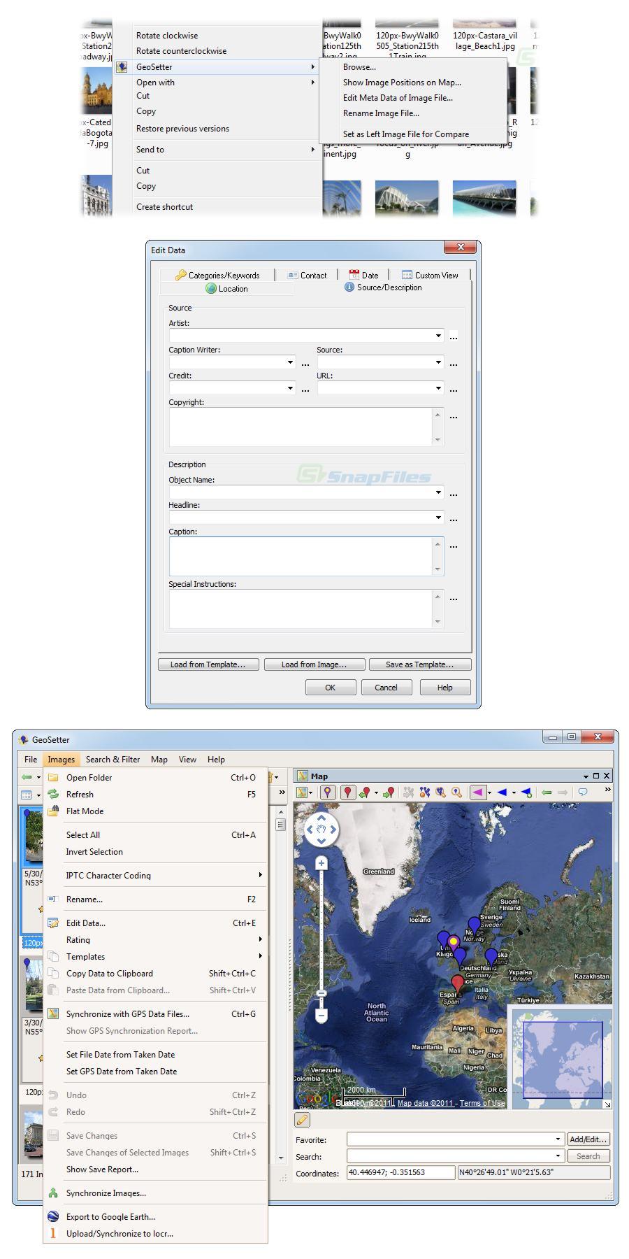 screenshot of GeoSetter