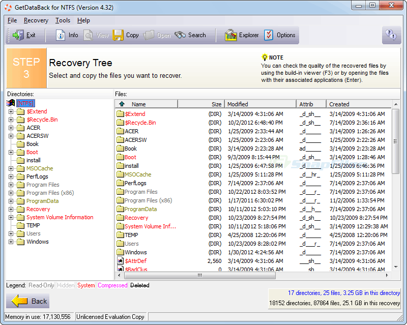 screenshot of GetDataBack for NTFS