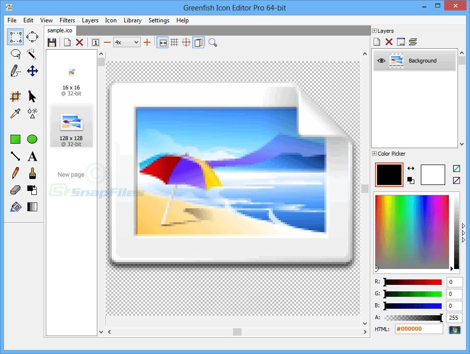 screen capture of Greenfish Icon Editor Pro