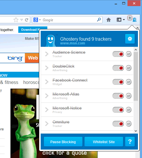 screen capture of Ghostery for Firefox