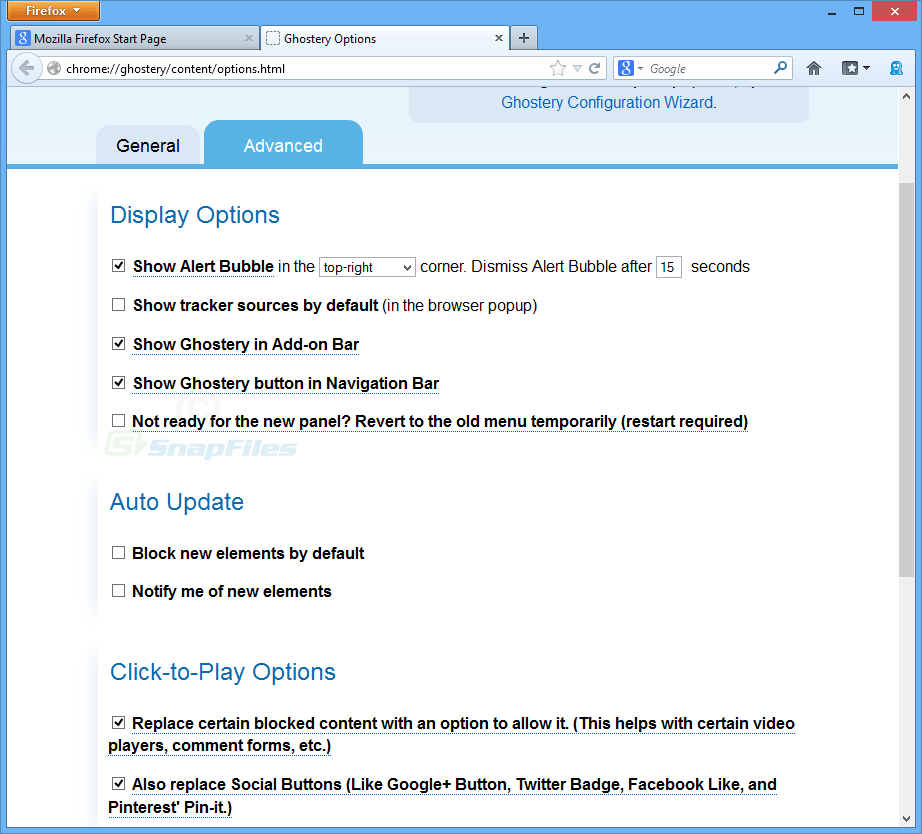 screenshot of Ghostery for Firefox