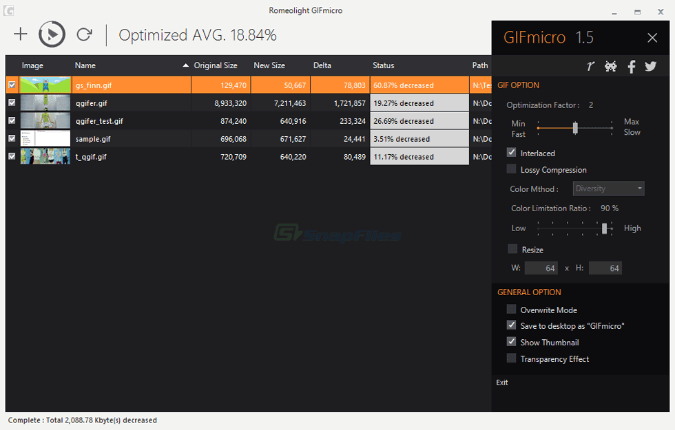 screenshot of Romeolight GIFmicro
