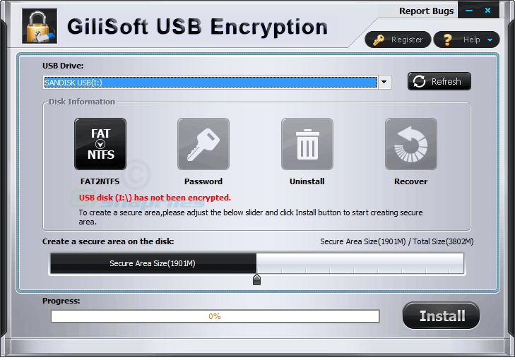 screen capture of GiliSoft USB Stick Encryption