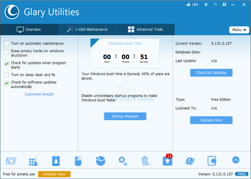 screen capture of Glary Utilities Free