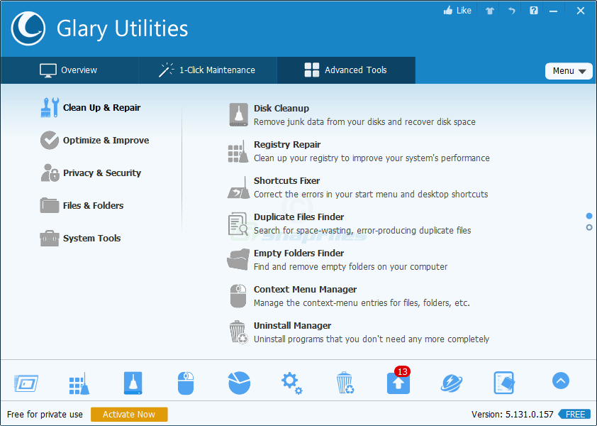 screenshot of Glary Utilities Free