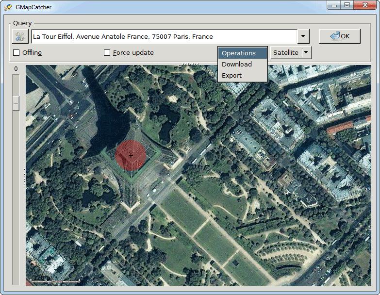 screenshot of GMapCatcher