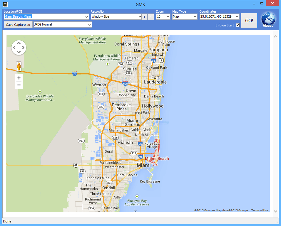 screen capture of Google Maps Saver