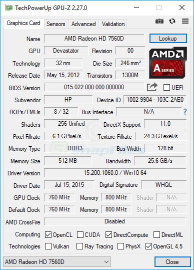 screen capture of GPU-Z
