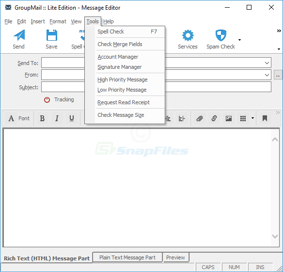 screenshot of GroupMail