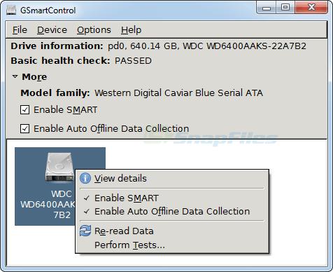 screen capture of GSmartControl