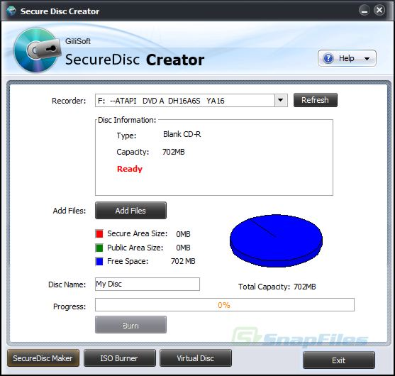 screen capture of GiliSoft Secure Disc Creator