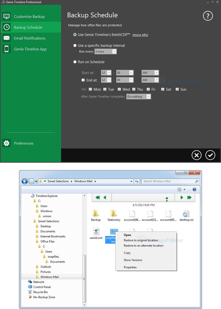 screenshot of Genie Timeline Pro