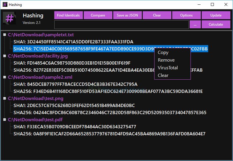screen capture of Hashing