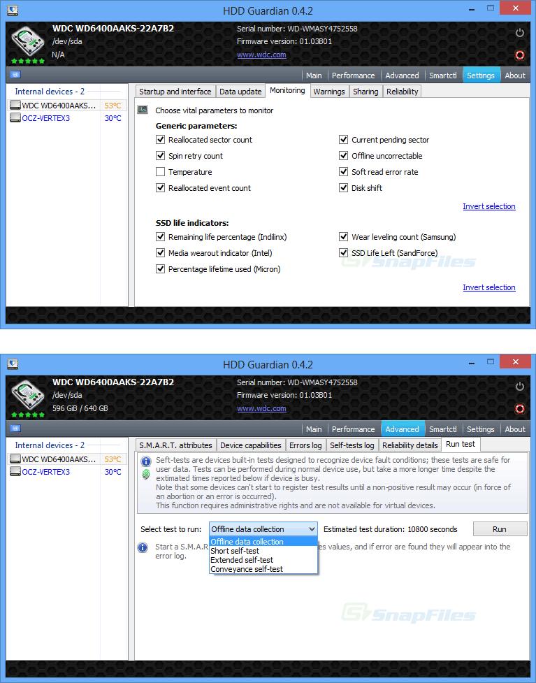 screenshot of HDD Guardian