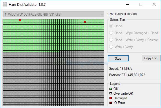screen capture of Hard Disk Validator