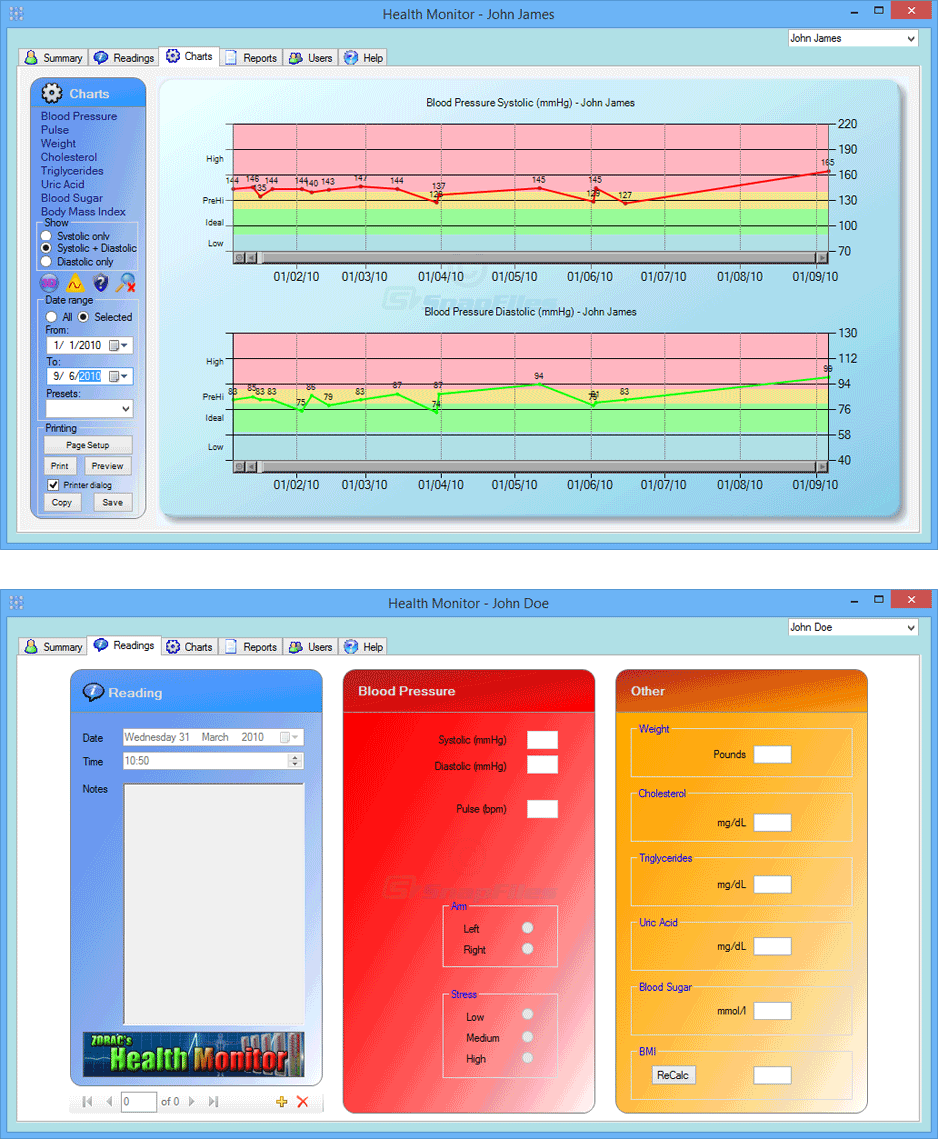 screenshot of Health Monitor