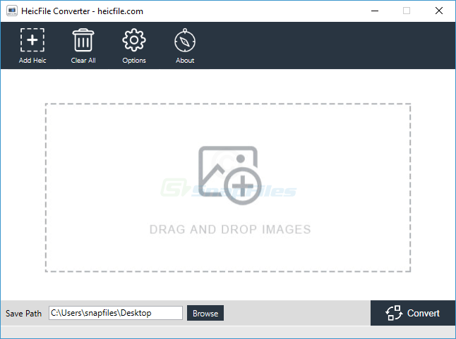 screen capture of HEIC File Converter