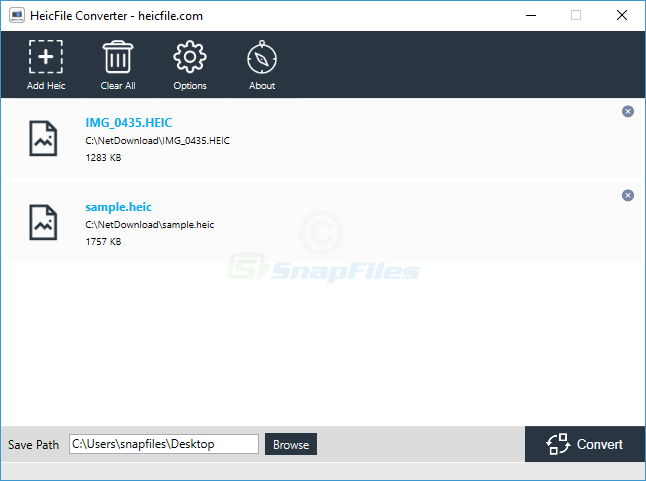 screenshot of HEIC File Converter