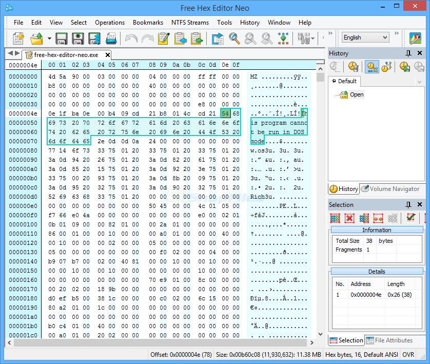 screen capture of Free Hex Editor Neo