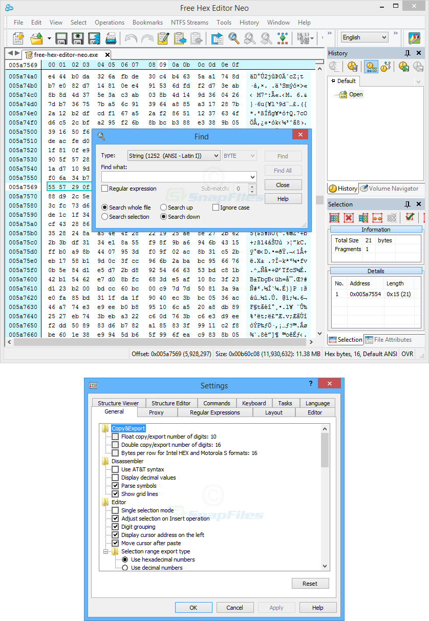 screenshot of Free Hex Editor Neo