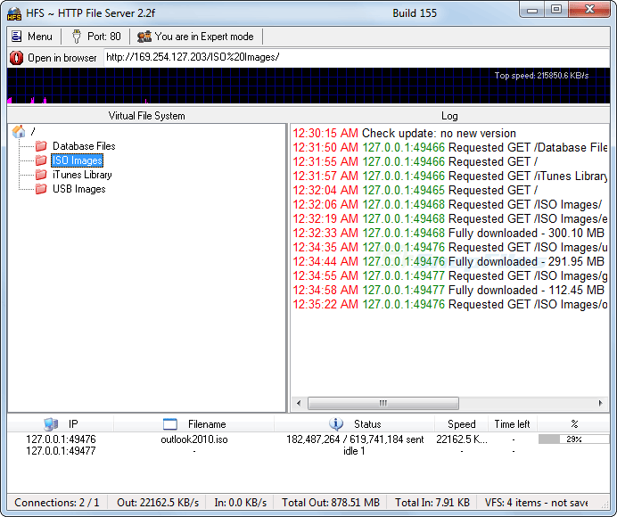 screen capture of HFS - HTTP File Server