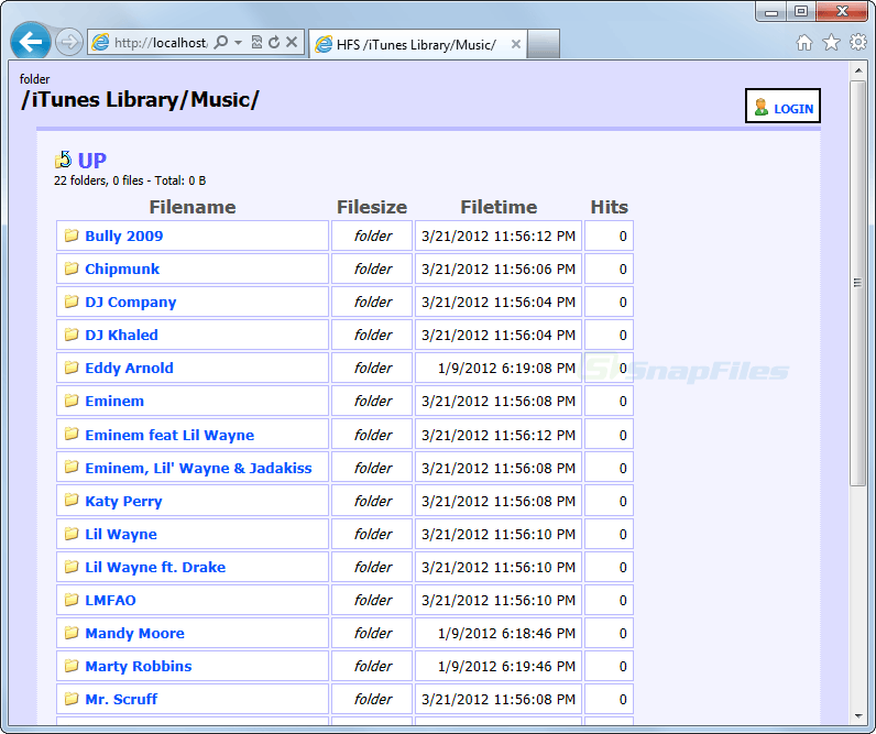 screenshot of HFS - HTTP File Server