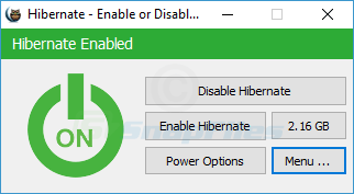screen capture of Hibernate Enable or Disable