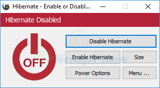 screenshot of Hibernate Enable or Disable