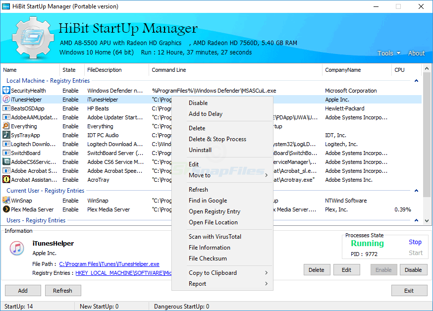 screen capture of HiBit Startup Manager