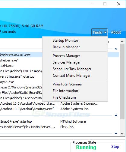 screenshot of HiBit Startup Manager