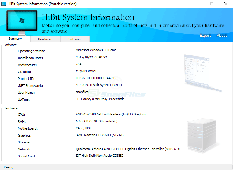 screen capture of HiBit System Information