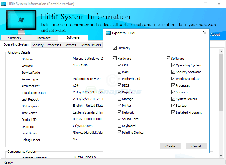 screenshot of HiBit System Information