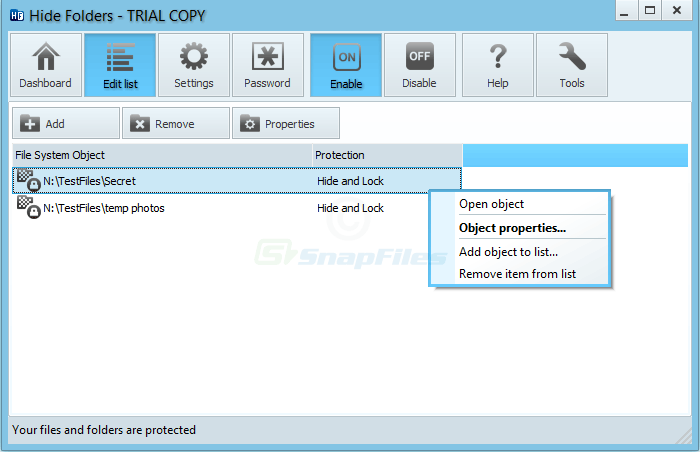 screenshot of Hide Folders