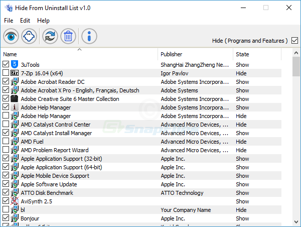 screen capture of Hide From Uninstall List