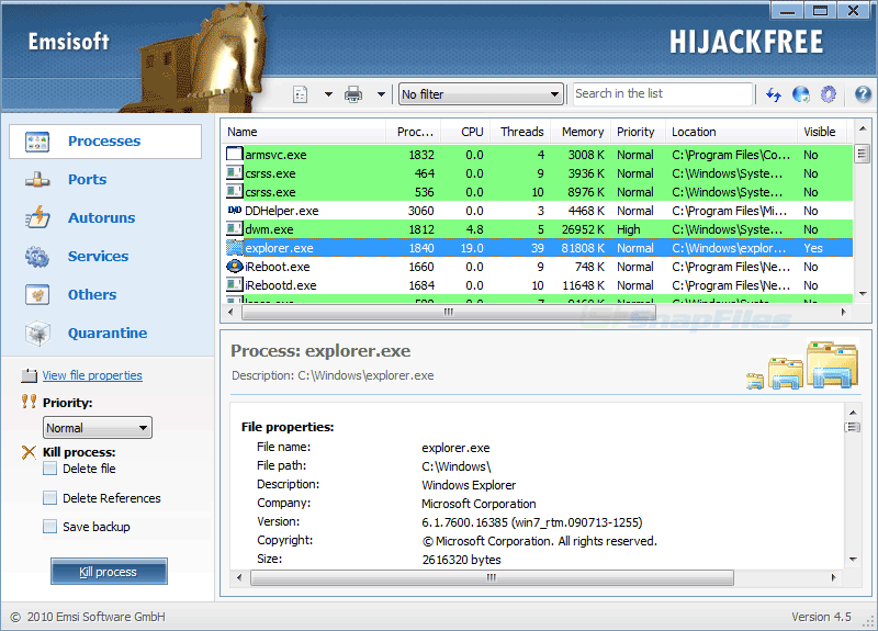 screen capture of Emsisoft HiJackFree