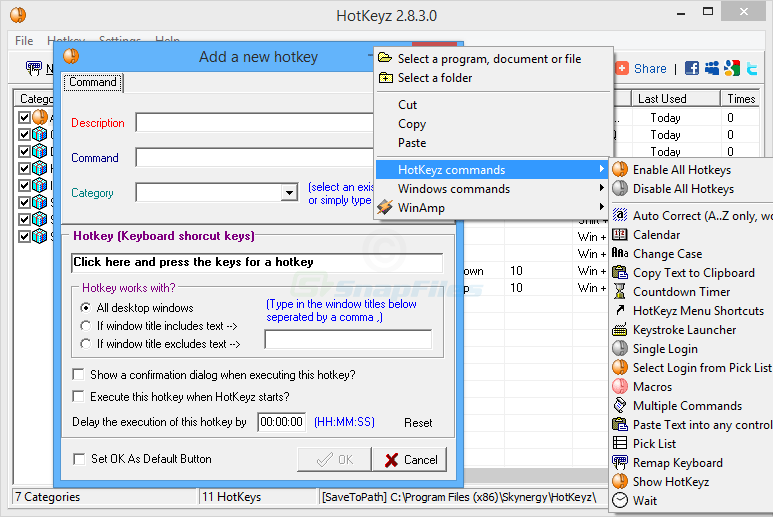 screenshot of HotKeyz