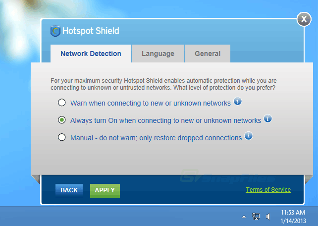 screenshot of Hotspot Shield